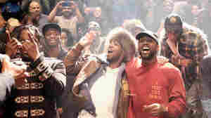 Kanye West with, from left, Pusha T, Steven Victor, Kid Cudi and Travis Scott, at Madison Square Garden in New York City February 11.