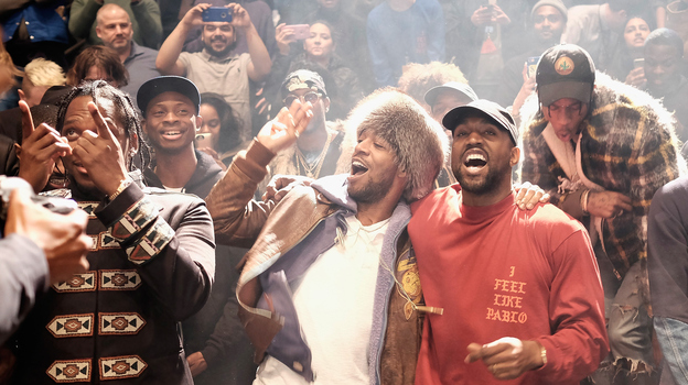 Kanye West with, from left, Pusha T, Steven Victor, Kid Cudi and Travis Scott, at Madison Square Garden in New York City February 11. (Getty Images for Yeezy Season 3)