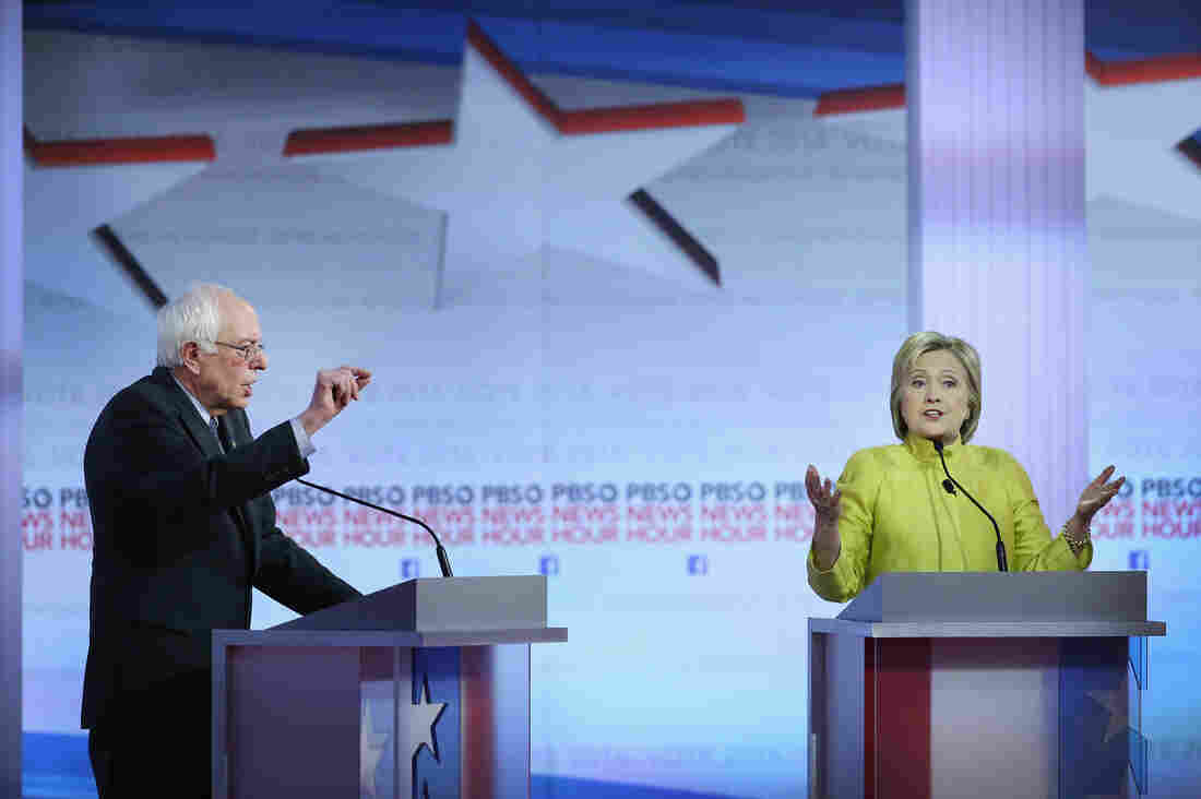 Bernie Sanders and Hillary Clinton participate in the PBS NewsHour Democratic presidential candidate debate Thursday at the University of Wisconsin, Milwaukee.