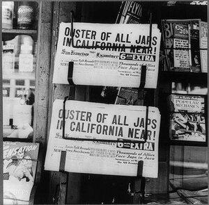 A newsstand in Oakland, Calif., in February, 1942.
