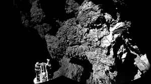 The final resting place of the Philae lander is seen here in a composite image relayed to Earth by the Rosetta orbiter. The lander is no longer communicating from comet 67P's surface.