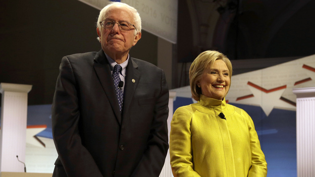 Democratic presidential candidates Bernie Sanders and Hillary Clinton agreed at their last debate in Wisconsin on Thursday to overturn the Citizens United ruling. (AP)