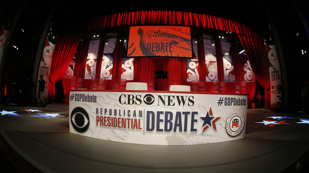 Construction crews work on the stage before the CBS News Republican presidential debate at the Peace Center in Greenville, S.C. (AP)