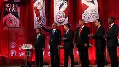 Republican presidential candidates at the final GOP before the South Carolina primary on Saturday at the Peace Center in Greenville, S.C.