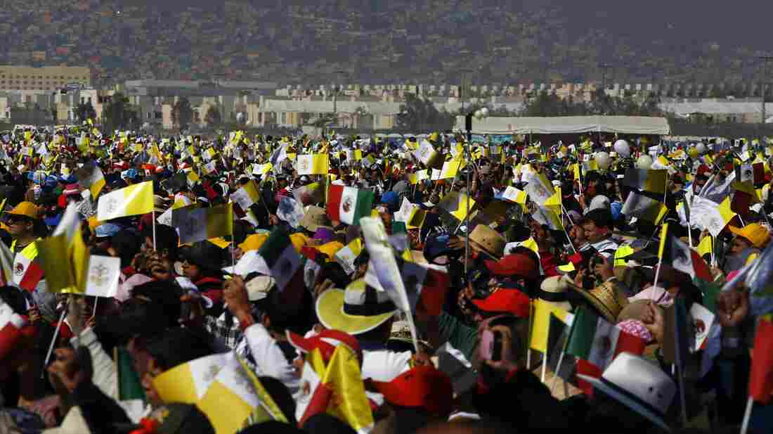 An estimated 300,000 people attended the open-air Mass in Ecatepec on Sunday.