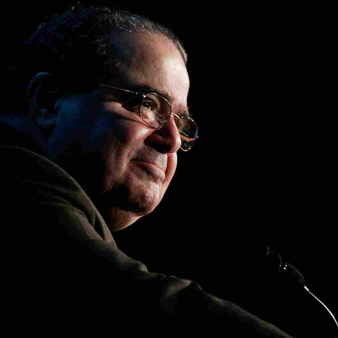 "Supreme Court Justice Antonin Scalia addresses a gathering in McLean, Va., in 2006. Scalia was a devout Roman Catholic, but said, ""The only article in faith that plays any part in my judging is the commandment 'Thou Shalt Not Lie.' """