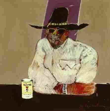 Indian With Beer Can (1969) is one of Fritz Scholder's most haunting images from his Indian series. Scholder painted what he observed, including alcoholism in Indian Country.