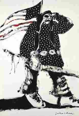 Mad Indian No. 3 (1970) is a portrait of an Indian with a skull-like head standing with the American flag. In this politically charged juxtaposition, the stars in the flag play off the polka-dot regalia.