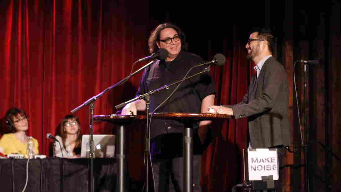 VIP Graphic illustrator Adrian Tomine (Right) and special guest Yo La Tengo's James McNew (Left) on Ask Me Another at The Bell House in Brooklyn, New York.