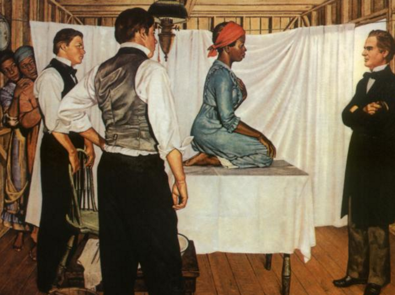 Illustration of Dr. J. Marion Sims with Anarcha by Robert Thom. Courtesy of Southern Illinois University School of Medicine, Pearson Museum. (Pearson Museum, Southern Illinois University School of Medicine)