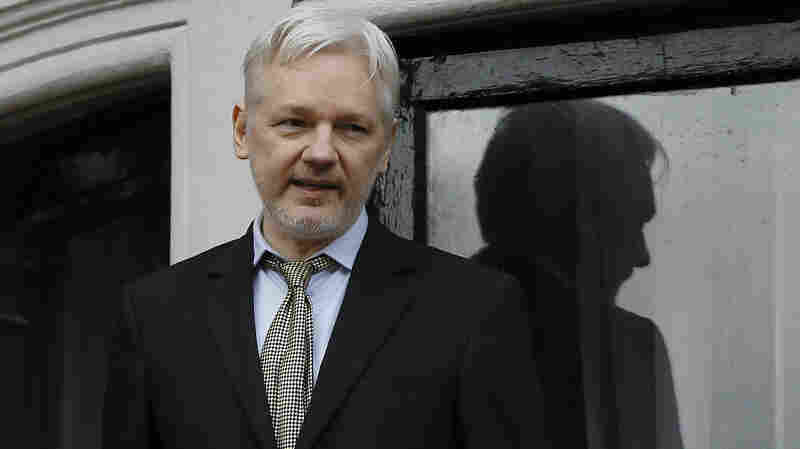 WikiLeaks founder Julian Assange speaks on the balcony of the Ecuadorean Embassy in London on Feb. 5.