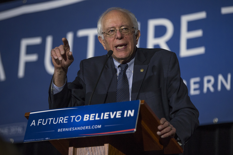 Democratic presidential candidate Bernie Sanders speaks during a town hall at the University of South Carolina. Sanders promotes the idea of free college education for all. (Evan Vucci/AP)