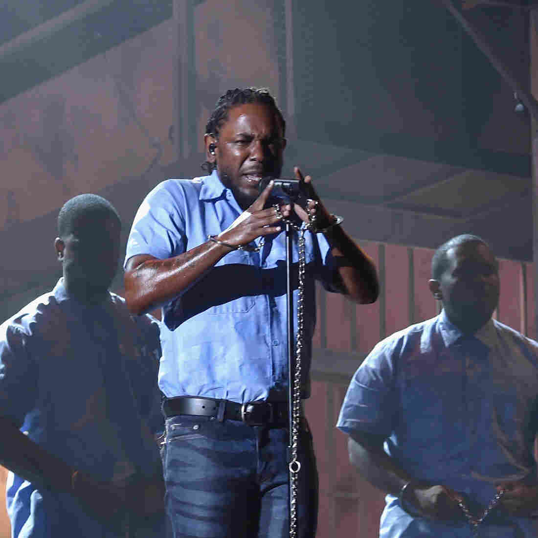 "Kendrick Lamar performs ""The Blacker The Berry"" at the 2016 Grammy Awards, held Monday night."