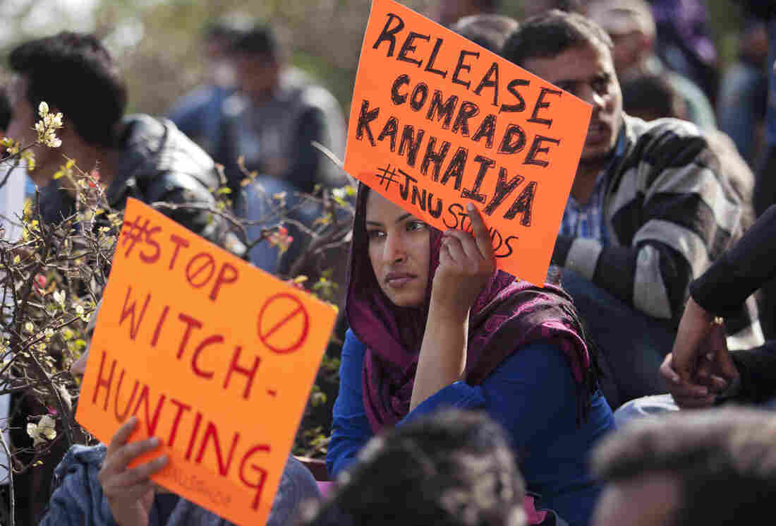 An Indian student holds a placard demanding the release of student leader Kanhaiya Kumar during a protest at the Jawaharlal Nehru University in New Delhi on Tuesday.