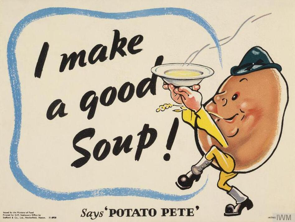 During World War II, Potato Pete, a dapper cartoon spud with a jaunty cap and spats, instructed U.K. consumers on the humble tuber's many uses – not just in standards like scalloped potatoes and savory pies but also in more surprising options, like potato scones and waffles. (Imperial War Museums (Art.IWM PST 6080))