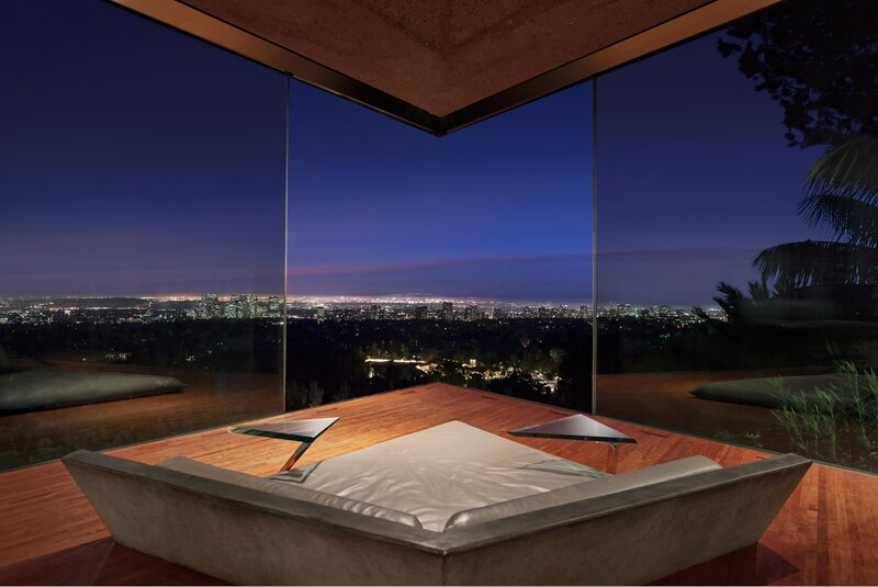 Nestled into the side of a canyon, Goldstein's house looks out over downtown Los Angeles and beyond. (Jeff Green/LACMA)
