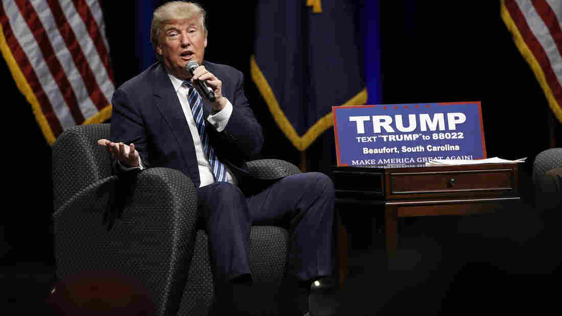 Donald Trump speaks during a campaign stop on Tuesday in Beaufort, S.C. The state holds its Republican presidential primary this weekend.