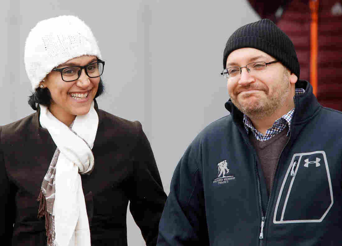 U.S. journalist Jason Rezaian appeared with his wife, Yeganeh Salehi, at Germany's Landstuhl Regional Medical Center after being released from an Iranian prison in January.
