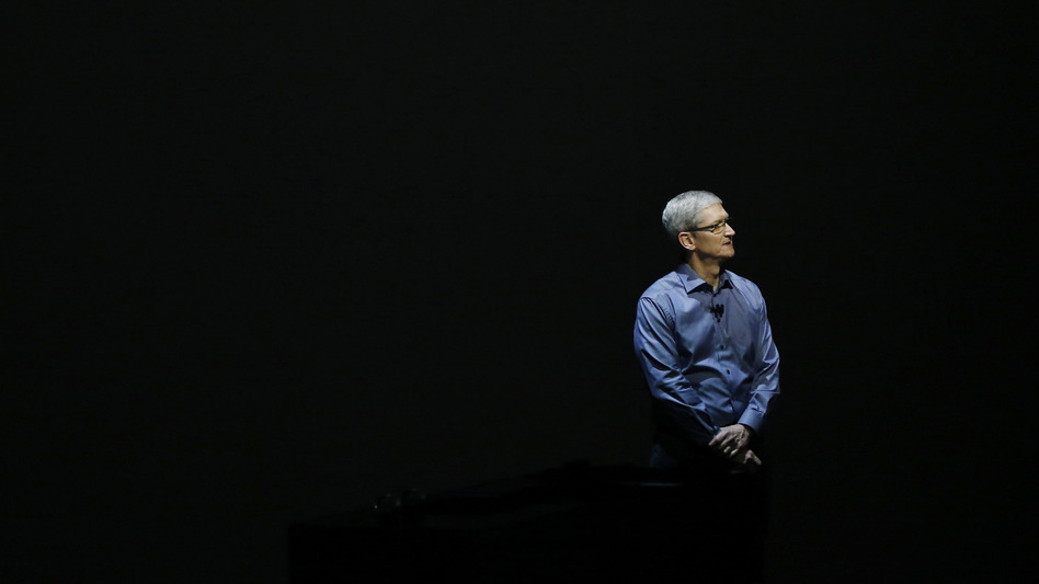 Apple CEO Tim Cook appears Sept. 9, 2015, in San Francisco to unveil the latest iterations of the company's smartphone. (Stephen Lam/Getty Images)