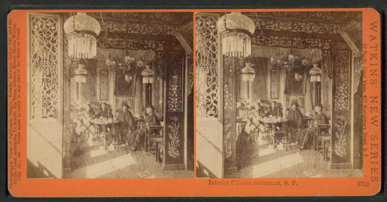 The interior of a Chinese restaurant in San Francisco, circa 1880. (The Miriam and Ira D. Wallach Division of Art, Prints and Photographs: Photography Collection,The New York Public Library)