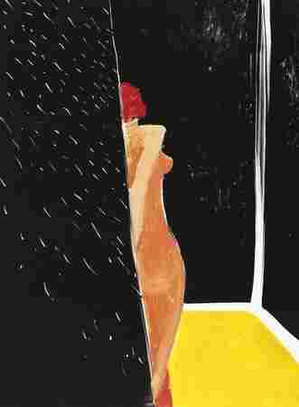 "Scholder's Mystery Woman series featured paintings of women in his pool or, in this painting --€"" Mystery Woman and Shower Curtain No. 1 (1987) --€"" in his bathroom. Women were his favorite subject, and he avoided visual cliches by transforming the subject with his own signature style."