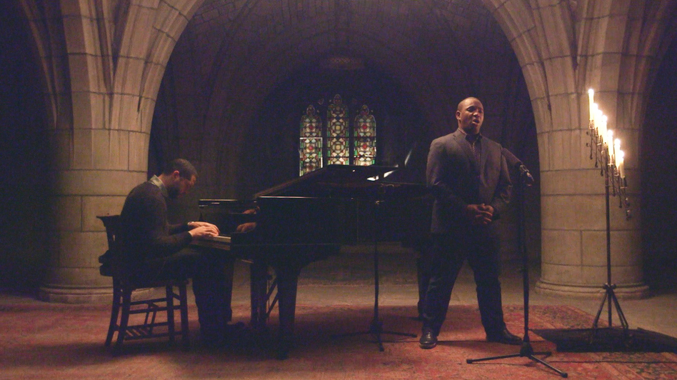 Lawrence Brownlee performs with pianist Jason Moran in the active crypt below the historic Church of the Intercession in Harlem. (NPR)