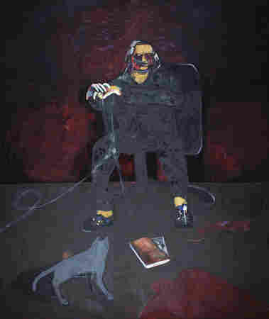 Scholder's last self-portrait, Self Portrait with Grey Cat (2003), is remarkable for its honesty. The artist had been battling diabetes and here he sits in his studio with an oxygen tube in his nose, surrounded by mysterious elements including a large pool of blood that encroaches from the foreground.