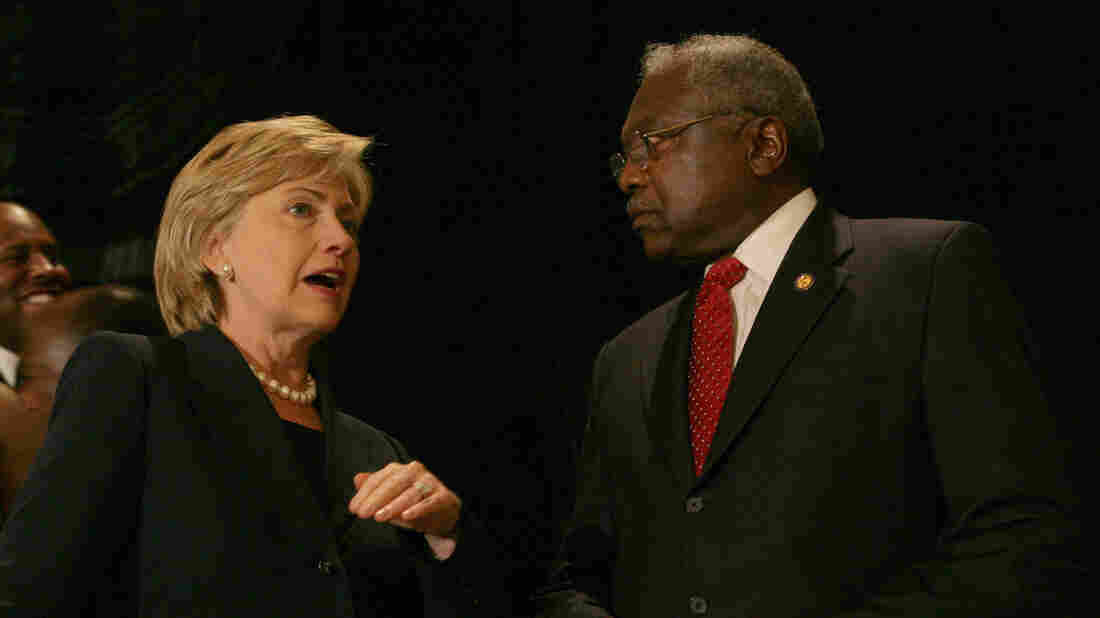 Then-Sen. Hillary Rodham Clinton, D-N.Y., and Rep Jim Clyburn, D-S.C., speak in Charleston in 2007.