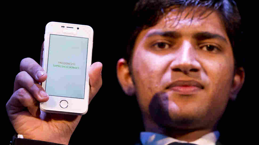 A Freedom 251 smartphone, priced at 251 rupees (less than $4), which went on sale Thursday. Its maker, Ringing Bells, says interest overwhelmed its website.