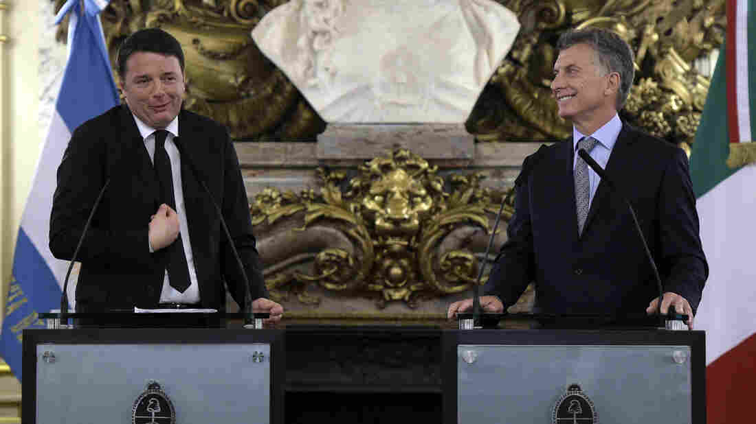 Italian Prime Minister Matteo Renzi (left) talks to the media alongside Argentine President Mauricio Macri in Buenos Aires on Tuesday. Renzi has inspired some mockery in the Italian press for reciting a poem he claimed was by Jorge Luis Borges, which, well, wasn't.