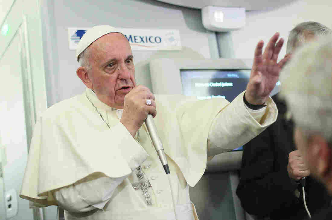 Pope Francis speaks to journalists Thursday aboard a flight from Mexico to Italy.