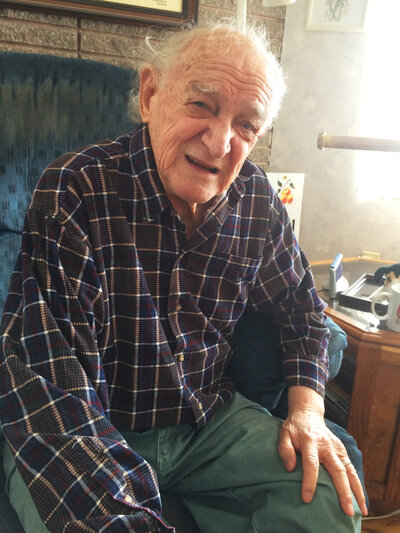 Bob Ebeling, now 89, at his home in Brigham City, Utah. (Howard Berkes/NPR)