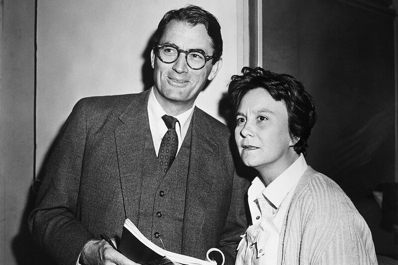 Actor Gregory Peck and novelist Harper Lee in 1962, on the set of the Universal Pictures release To Kill A Mockingbird, in which Peck plays Atticus Finch. (Bettmann/Corbis)