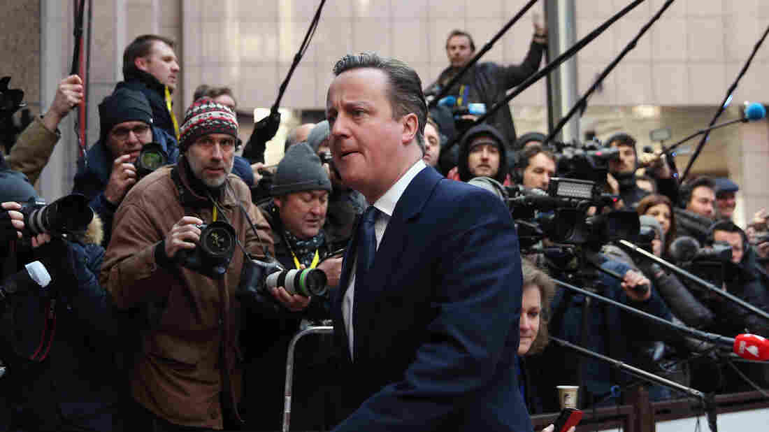 British Prime Minister David Cameron arrives Friday for the second day of a European Union summit in Brussels.