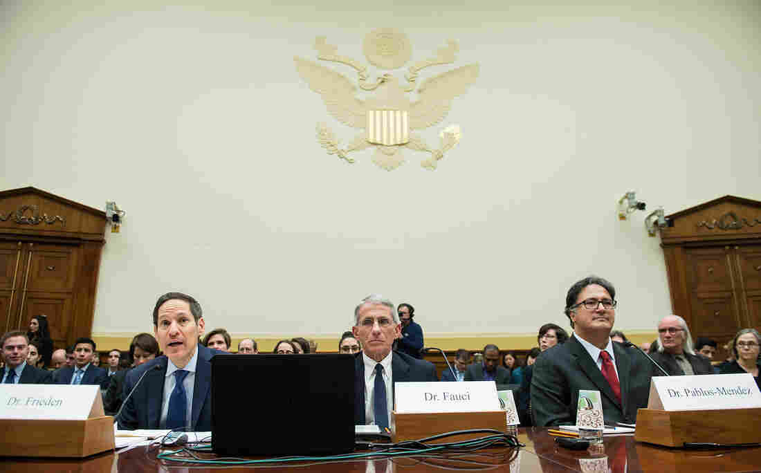 Dr. Tom Frieden (left), director of the Centers for Disease Control and Prevention, testifies about Zika virus with Dr. Anthony Fauci (center), director of the National Institute of Allergy and Infectious Diseases, and Dr. Ariel Pablos-Mendez, assistant administrator of the U.S. Agency for International Development's Bureau for Global Health, on Capitol Hill on Feb. 10.