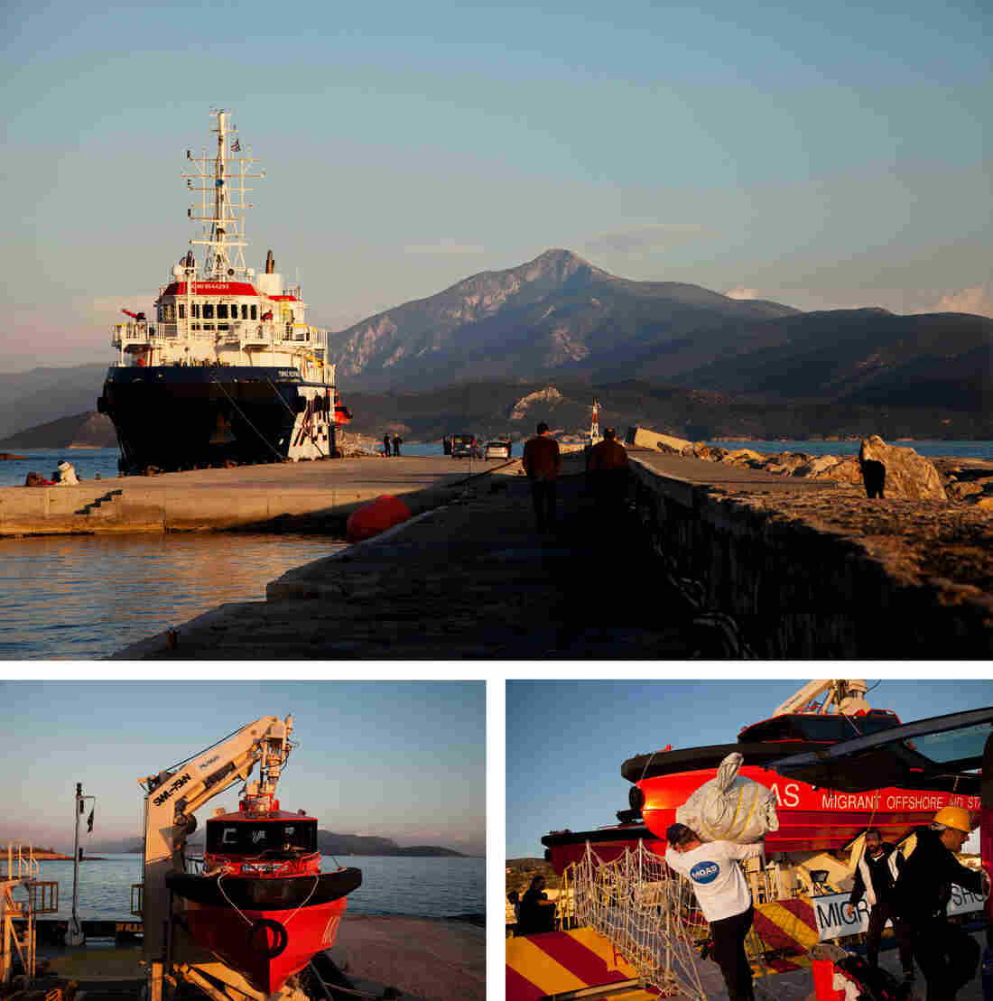 The Migrant Offshore Aid Station (MOAS), docked on the Greek island of Samos, carries out rescues in the Aegean Sea. Christopher Catrambone, an American businessman, and his Italian wife, Regina, started the Malta-based private rescue service in 2014.