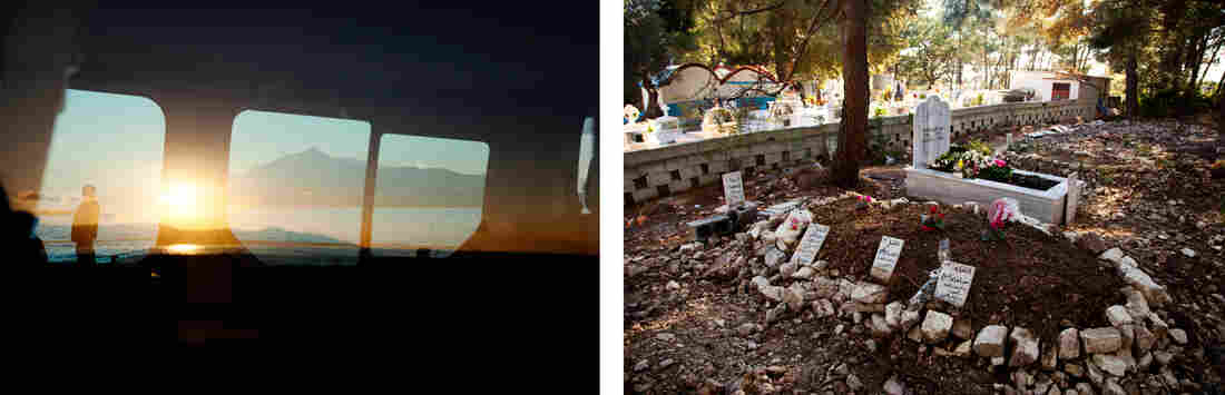 On the Greek island of Samos, locals have had to improvise basic services for migrants who survive the journey, and those who don't. On the right is a burial ground on the edges of a Greek Orthodox cemetery.