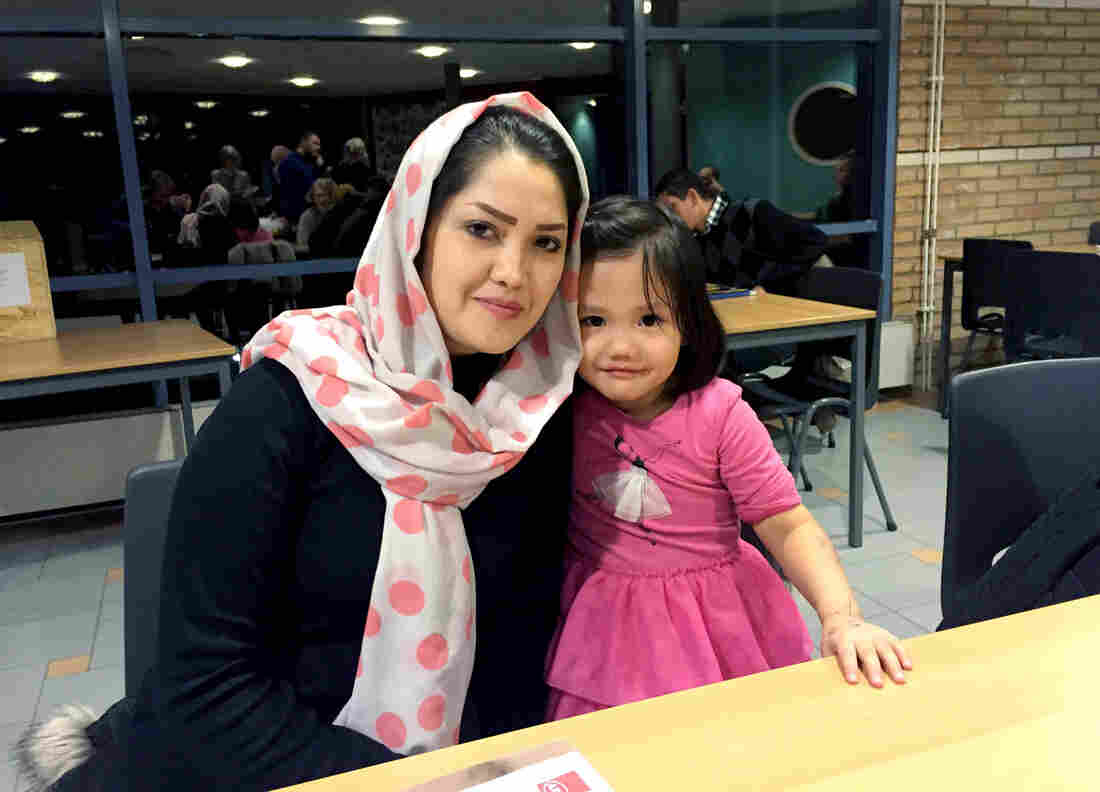 """Zahra Jafari and her 4-year-old daughter arrived in Sweden after fleeing Afghanistan on foot. Their lives were threatened by the Taliban and ISIS. """"I came here for my daughter,"""" Jafari says."""