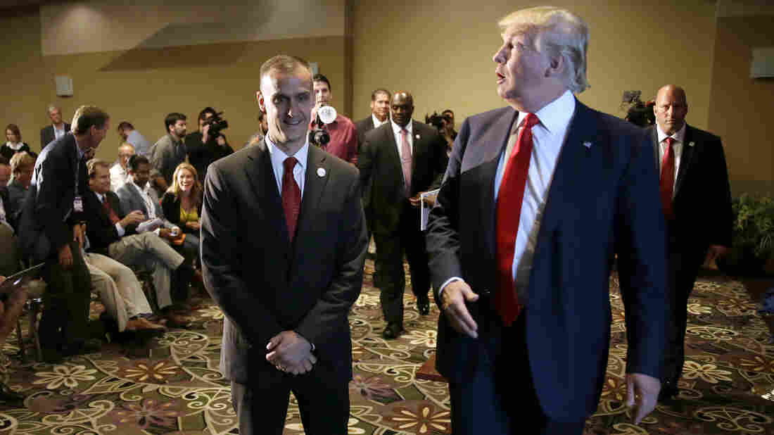 Republican presidential candidate Donald Trump with his campaign manager, Corey Lewandowski, in Iowa last year.