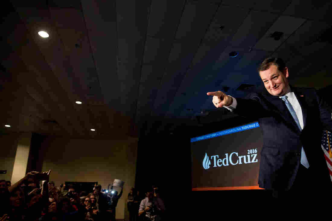 Republican presidential candidate Ted Cruz arrives for a South Carolina primary night rally at the South Carolina State Fairgrounds in Columbia, S.C.