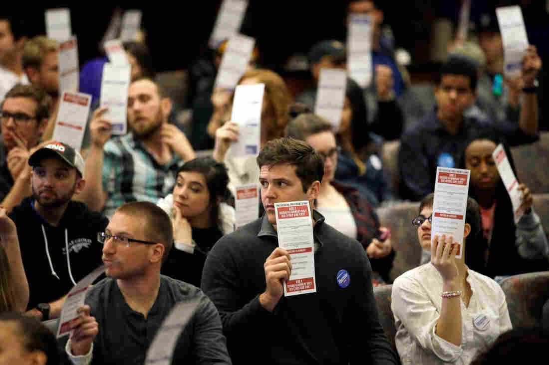 Voters hold up presidential preferences cards, as votes are counted during a Democratic caucus at the University of Nevada on Saturday.