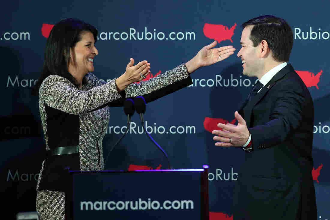 South Carolina Gov. Nikki Haley greets Sen. Marco Rubio, before the senator's address to supporters in Columbia, S.C.