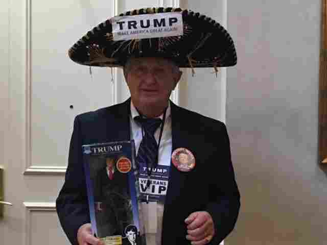 A Trump supporter awaits the campaign's post-primary party.