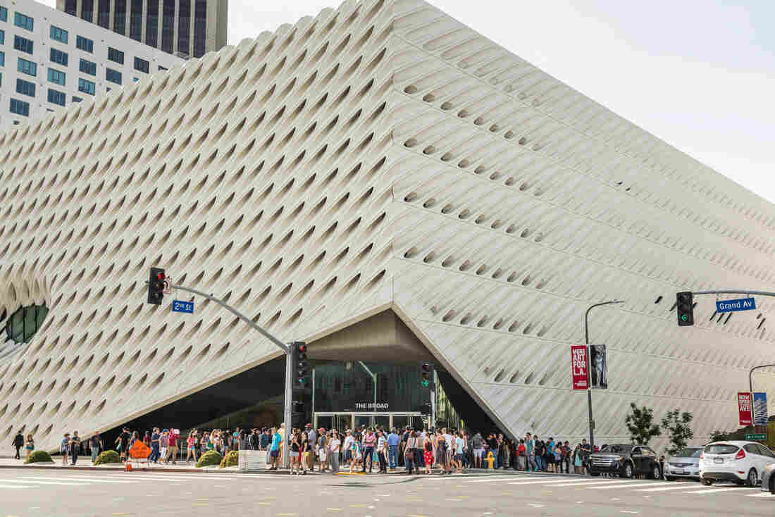 Lines form around the building at admission-free Broad Museum, which has been open for five months.