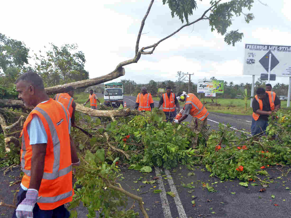 Road workers remove a fallen tree blocking a road near Lami, Fiji, after Cyclone Winston hit on Saturday.