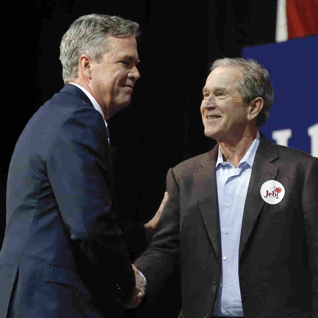 Former President George W. Bush appears at a rally during the final week of his brother Jeb Bush's 2016 presidential campaign, in North Charleston, S.C.