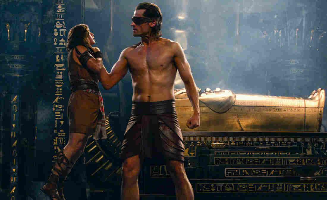 Bek (Brenton Thwaites, left) and Horus (Nikolaj Coster-Waldau) in Gods of Egypt.