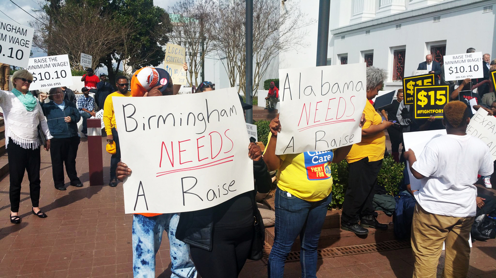 A coalition of clergy, fast food workers and labor advocates rallied Tuesday in Montgomery, Ala., to defend a bill establishing a minimum wage of $10.10 an hour in the city of Birmingham, Ala.