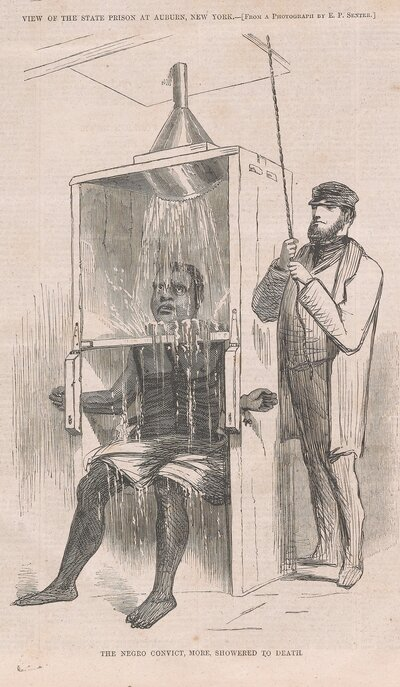 "In prison, Reed endured brutal punishment, including ""the showering bath,"" an early version of waterboarding. It was initially considered more ""humane"" than whipping, but when an inmate died after being punished in the showering bath, prisoners rioted. (Courtesy of Penguin Random House)"