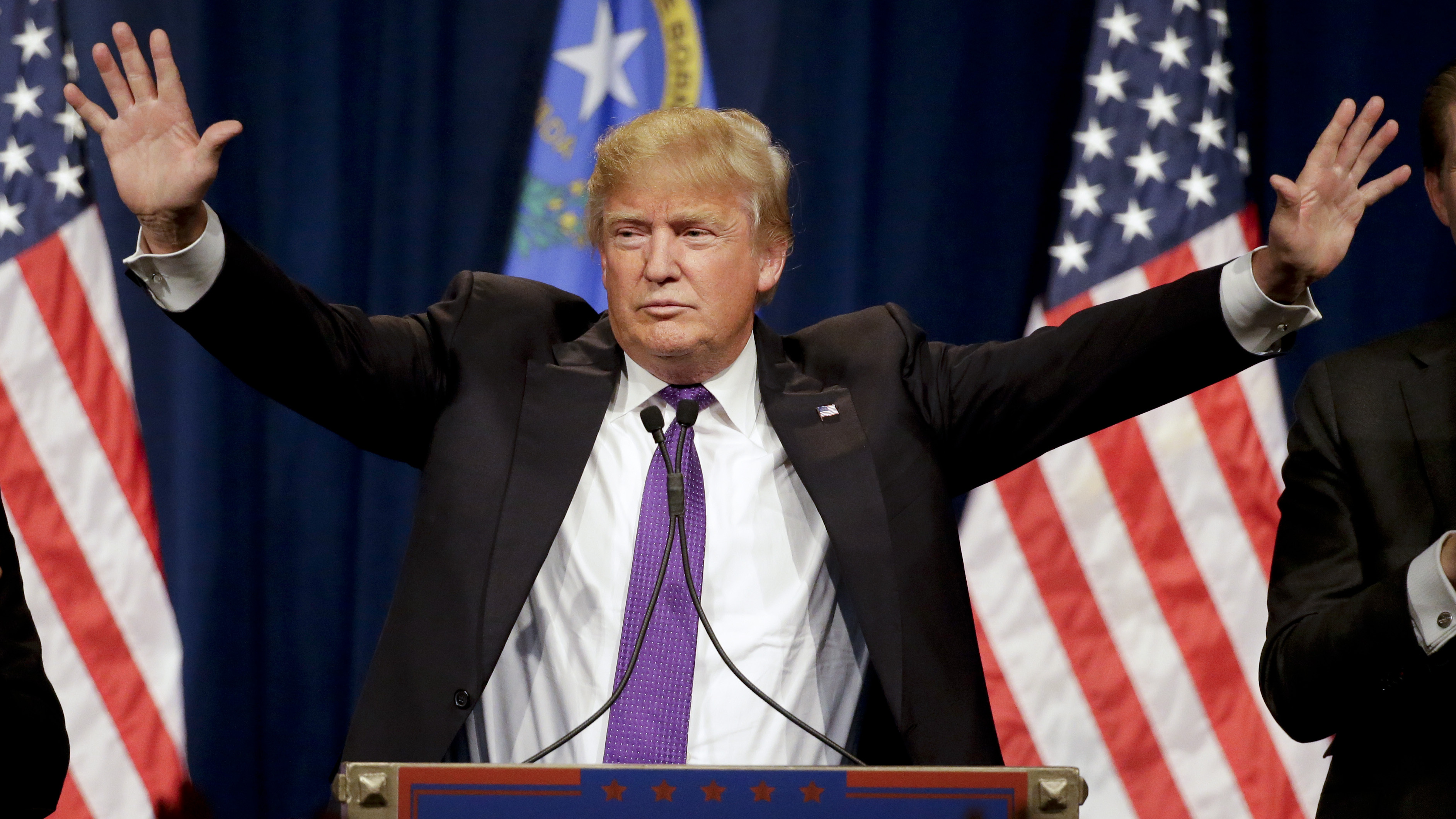 Republican presidential candidate Donald Trump speaks during a caucus night rally Tuesday in Las Vegas.